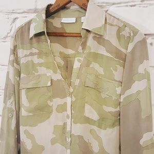 New York & Company Camo Button Up Blouse